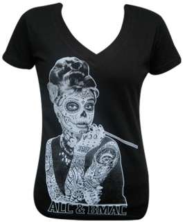 Womens Aubrey by Jarad Bryant T Shirt Mexican Sugar Skull Face Mask