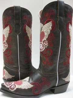 LADIES WOMENS COWBOY BOOTS SEXY SHOES NEW GRINGO EMBROIDERED HEART