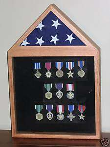 3X5 FLAG DISPLAY LARGE MEDAL DISPLAY CASE OAK NEW