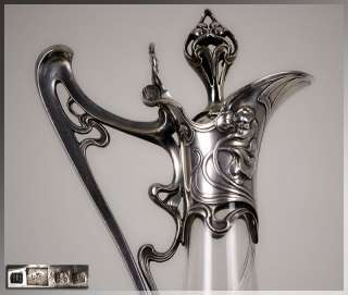 WMF Superb 1905 German ART NOUVEAU Cut Glass & Silver DECANTER Claret