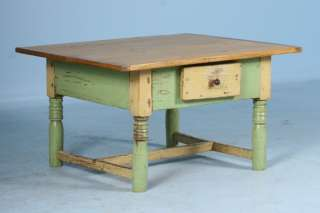 Original Antique Painted Green Coffee Table Pine Top Circa 1880