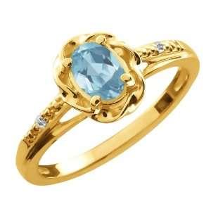 0.57 Ct Oval Sky Blue Topaz White Sapphire 18K Yellow Gold