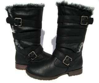 Designer Boots Black Motorcycle shoes winter snow Ladies size 8