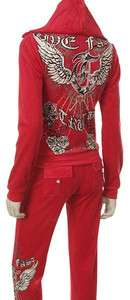 Velour Angel Wing & Rose Print Rhinestone Tracksuit S, M, L, XL