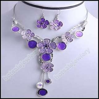 4set wholesale Rhinestone Flower Necklace Earrings sets