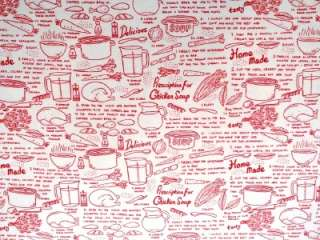 New Chicken Soup Fabric BTY Recipe Kitchen Food Timeless Treasures