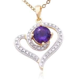 Silver Amethyst and Diamond Accent Swirl Heart Pendant, 18 Jewelry