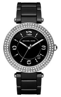 Michael Kors Black Ceramic Strap Crystal Dial Womens Watch MK5309