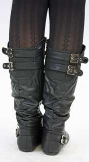 WOMENS FLAT KNEE HIGH LADIES WIDE CALF LEG BOOTS SIZE 7