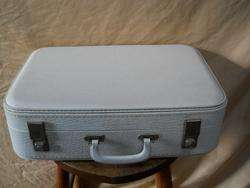 Vintage White Vinyl Hard Shell Suitcase Luggage 19x14x5 Clean Inside