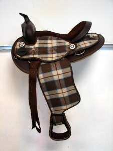 12 STAR brown plaid check Western Trail kid PONY MINI TRAIL Saddle