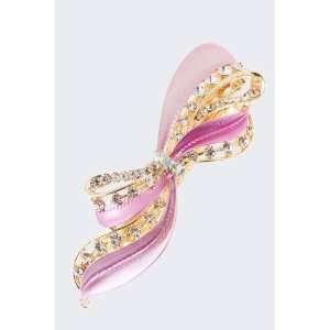 Fashion Hair Accessory ~ Pink Metal Ribbon Hair Clip