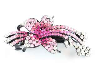 Pink Lily Austrian Rhinestone Crystal Hair Barrette Clip