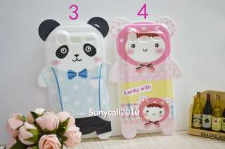 White Panda bear pink Cute Bow Ear Silicone cover case for HTC
