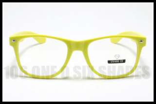 Nerd 80s RETRO Old School Vintage Clear Lens Glasses YELLOW Frame