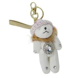 White Teddy Bear Beanie Key Chain Purse Charm Jeweled
