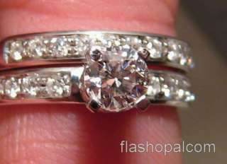 Diamond Engagement Ring & Wedding Band Set  14k White Gold