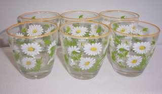 WHITE YELLOW DAISY FLOWER LIBBEY RETRO GLASSES ORANGE PAINTED RIM