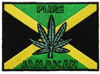 com Jamaica Pot Leaf Flag Embroidered Patch Marijuana Rasta Jamaican