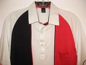 VINTAGE ALAN STUART RED WHITE & BLUE POLO SHIRT 80s S