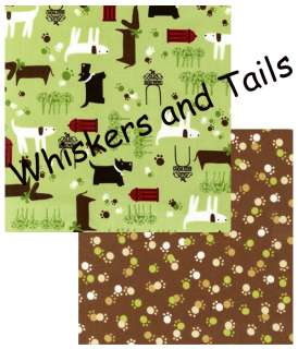 Whiskers and Tails Puppy Dog paws prints Brown Fabric