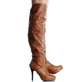 Tan Thigh High Boots Winter Over The Knee Tall Womens Stiletto Heels
