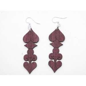 Wine Full House Wooden Earrings GTJ Jewelry