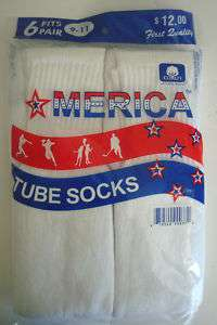 MENS COTTON ATHLETIC TUBE SOCKS 9 11 WHITE 6 PAIR