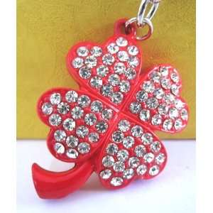 Purse Charm 4 Leaf Lucky Red Clover Crystals Rhinestone Key Chain