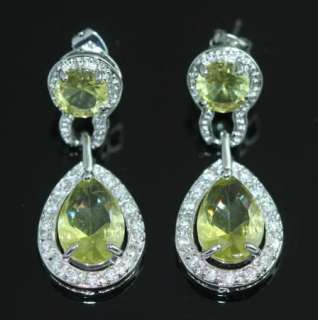 YELLOW CITRINE COLOR CRYSTAL SILVER PLATED BRIDAL PROM BEAUTY PAGEANT