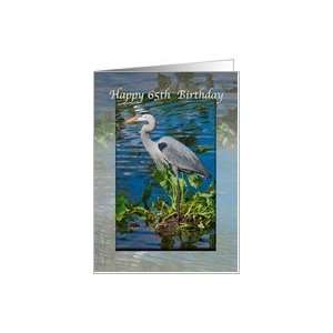 65th Birthday Card with Great Blue Heron Card: Toys