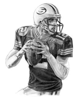 AARON RODGERS LITHOGRAPH POSTER PRINT IN PACKERS JERSEY