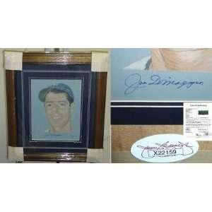 HOF Joe Dimaggio Framed Signed 12x16 Art JSA LOA