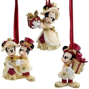 Disney Victorian Mickey Minnie Christmas Ornament Set 3