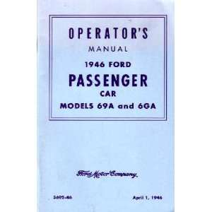 1946 FORD PASSENGER CAR Owners Manual User Guide Automotive