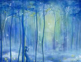 Firefly Forest Fairy Art ~ Modern Contemporary Landscape Painting