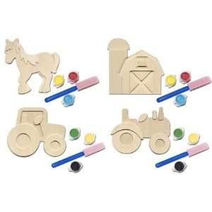 John Deere Lawn Tractor Wood Painting Kit: Toys & Games