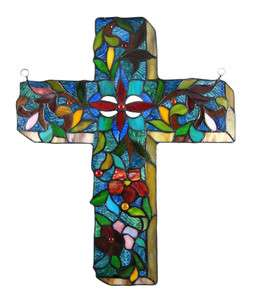 Stained Glass Flowered Cross Wall Hanging Christian