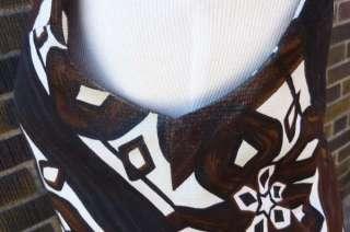 Vintage Malia Honolulu Hawaiian Brown & Black Short Dress GREAT