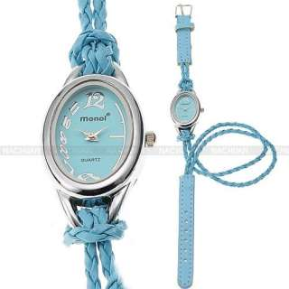 Charm Colorful Lady Girl Bracelet Knitted Leather Slim Strap Band