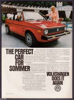 1981 Elke Sommer Photo VW Rabbit Convertible print ad