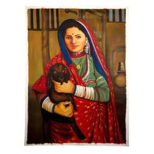 Handmade Art Oil Painting Canvas Indian Village Cowherd