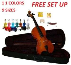 NEW RED PINK BLACK BLUE WHITE PURPLE GREEN GOLD VIOLIN