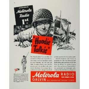 1944 Ad WWII Soldier G.I. Handie Talkie Motorola Radio