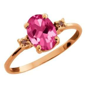 1.51 Ct Oval Pink Mystic Topaz and Cognac Red Diamond 14k