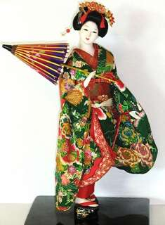 Vintage Japanese Geisha Doll with Parasol & Decorated Geta Sandals