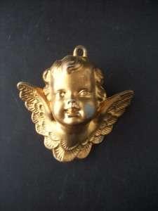 VINTAGE Gold Colored Plastic Cherub Angel ORNAMENT