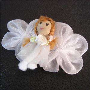 Cute White Angel Doll Girl Flower Hair Accessory Barrette Clip Free