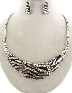 Chunky Animal Zebra Print Silver Black White Statement Jewelry Cuff
