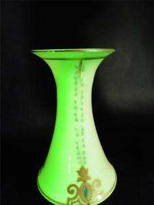 ANTIQUE VASELINE URANIUM GLASS HAND PAINTED ENAMEL VASE